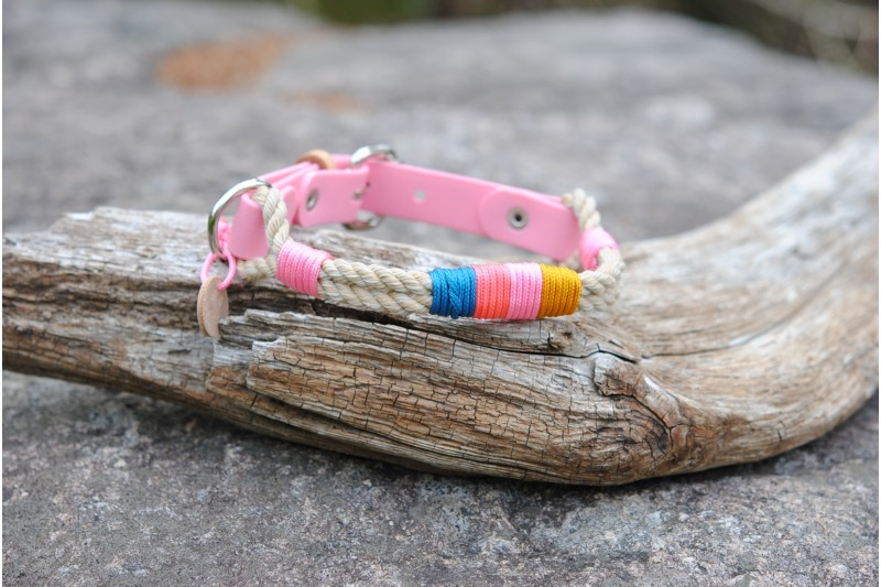 Adjustable collar for small dog Vintage/Bio Pink