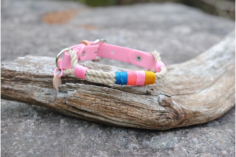 Adjustable collar for small dog Vintage/Bio Pink