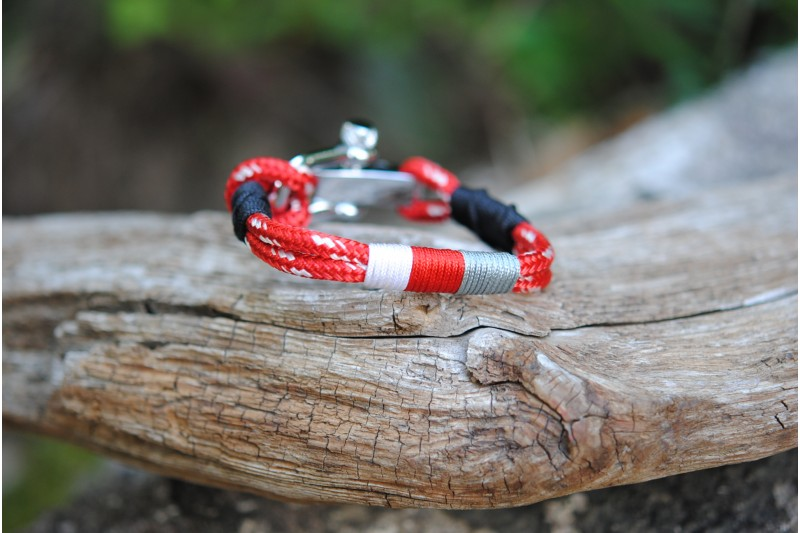 Bracelet Red-White/w-r-gr/Manille