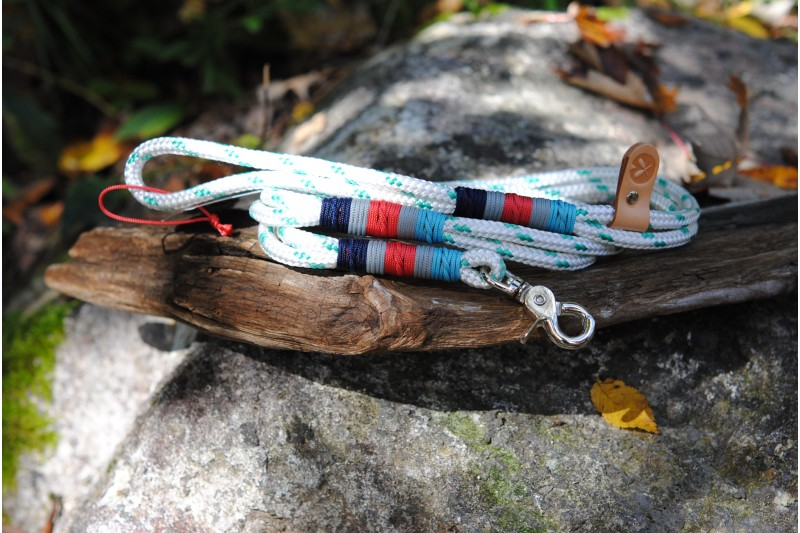 Laisse/Leash White-Turquoise/Stainless