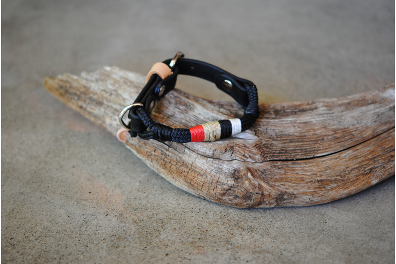 Adjustable collar for small dog Black 7mm/Tan