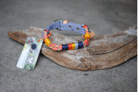 Adjustable collar for small dog Coral-Blue-Yellow/Bio Grey