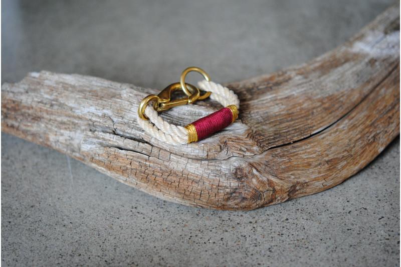 Bracelet, Vintage/Burgundy 01-Gold 02/Brass