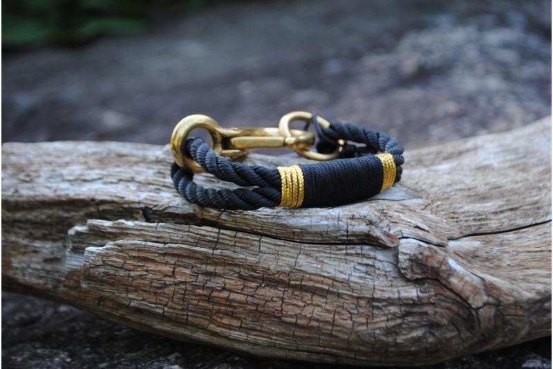 Bracelet Three Strand/Black 01-Gold 02/Brass