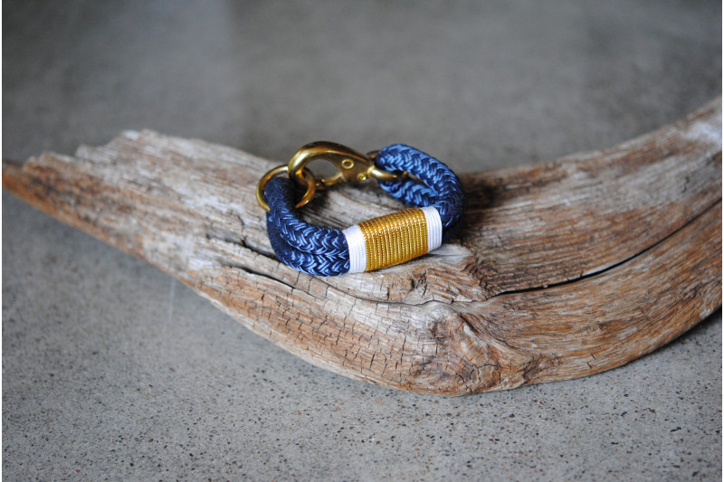 Bracelet, Navy/Gold 02-White/Brass
