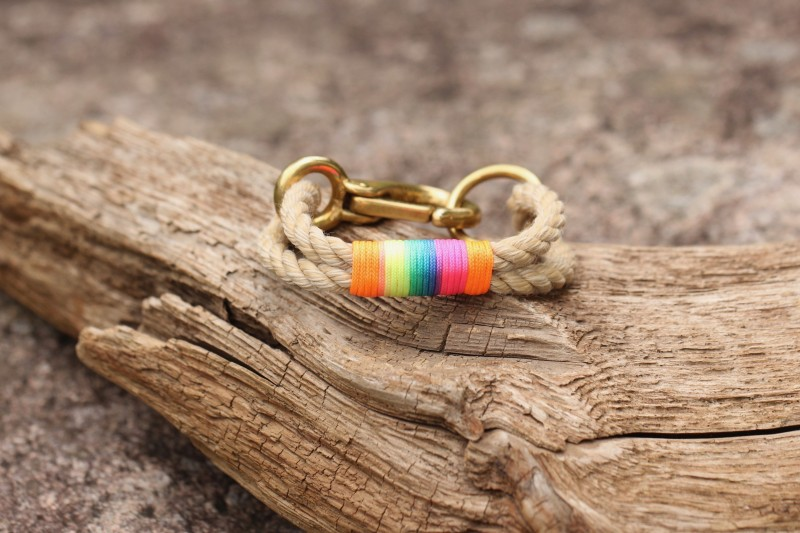 Bracelet, Vintage/Multicolored-Orange 01/Brass