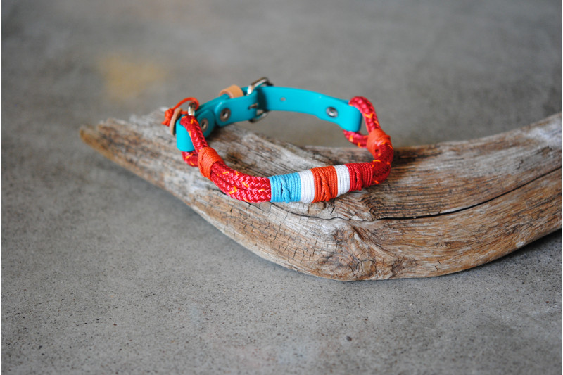 Ajustable small dog collar Red-Orange/Tan Leather