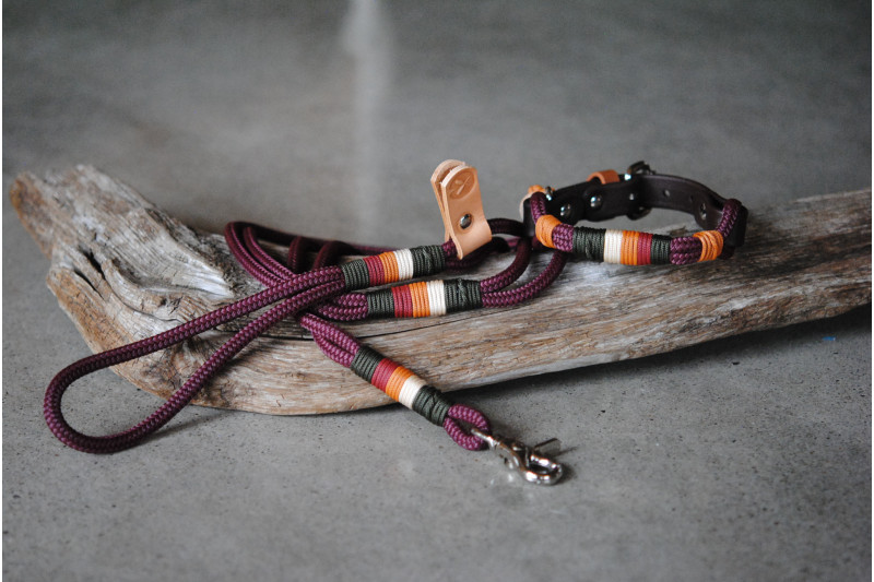 Adjustable collar for small dog Mahogany