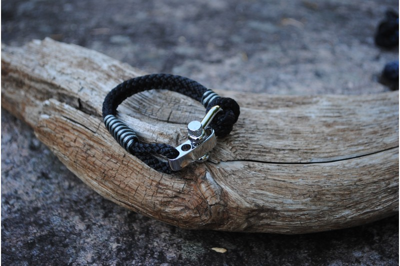 Bracelet, 5mm, Black/Stripe Black 01-Grey 01/Shackle