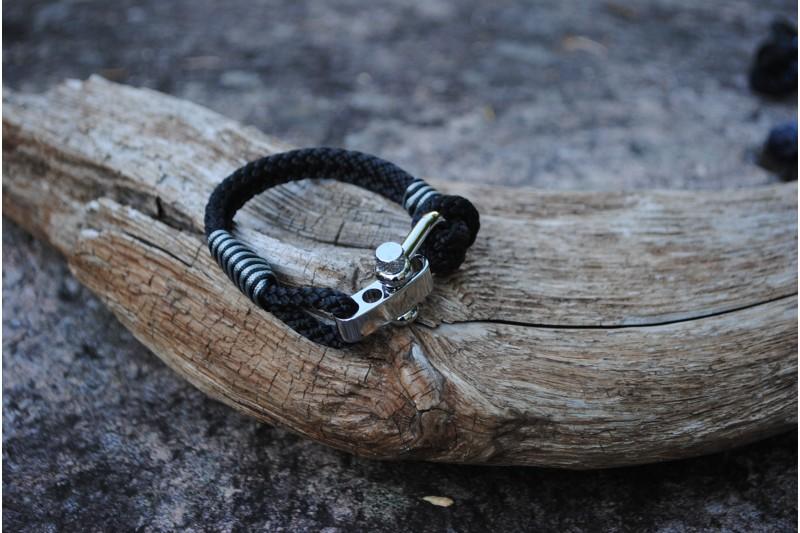 Bracelet, 5mm, Black/Stripe Black 01-Grey 01/Shackle