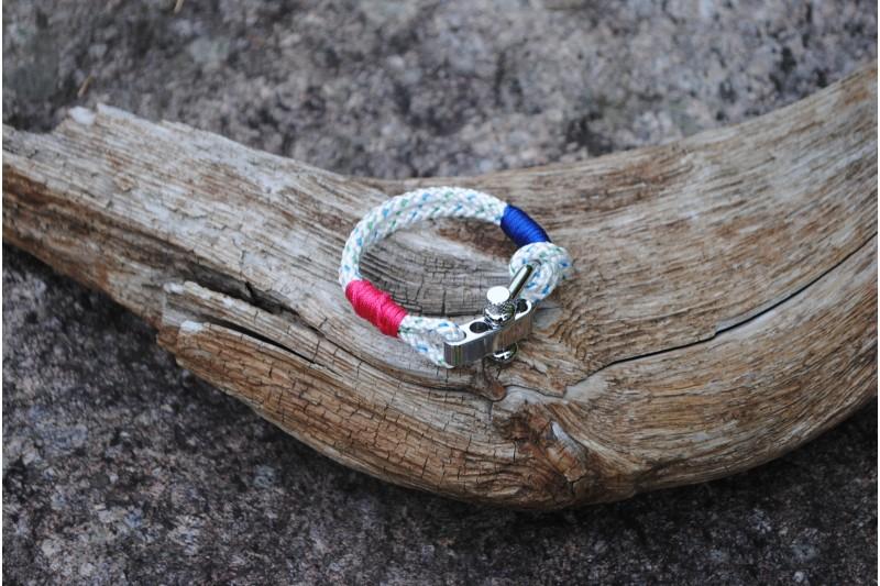 Bracelet, 4mm, White(blue-green)/Silver-Pink 01/Shackle