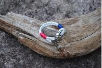 Bracelet Blanc(bleu-vert) 4mm/Manille