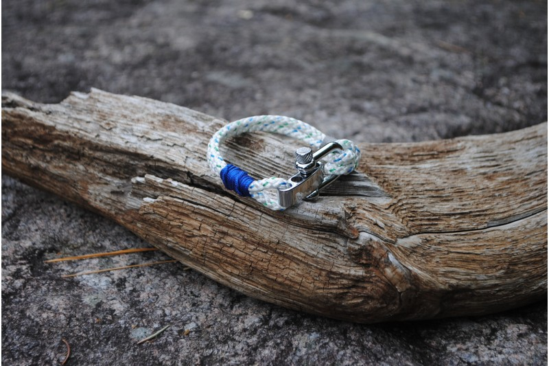 Bracelet, 4mm, White(blue-green)/Blue 01 s.f.-Grey 01/Shackle