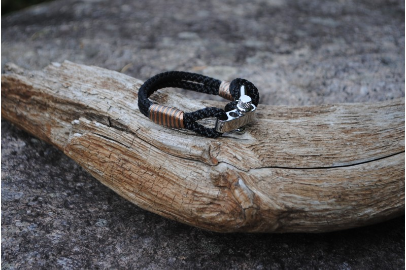 Bracelet, 5mm, Black/Stripe Gold 01-Grey 01/Shackle