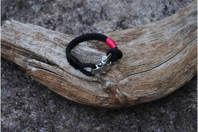 Bracelet, 5mm, Black/Black 01 s.f.-Pink 01/Shackle