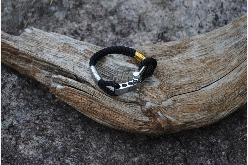 Bracelet, 5mm, Black/Gold 02-Silver/Shackle