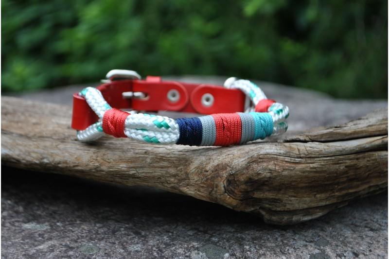 Collier ajustable pour petit chien White-Turquoise/Tan