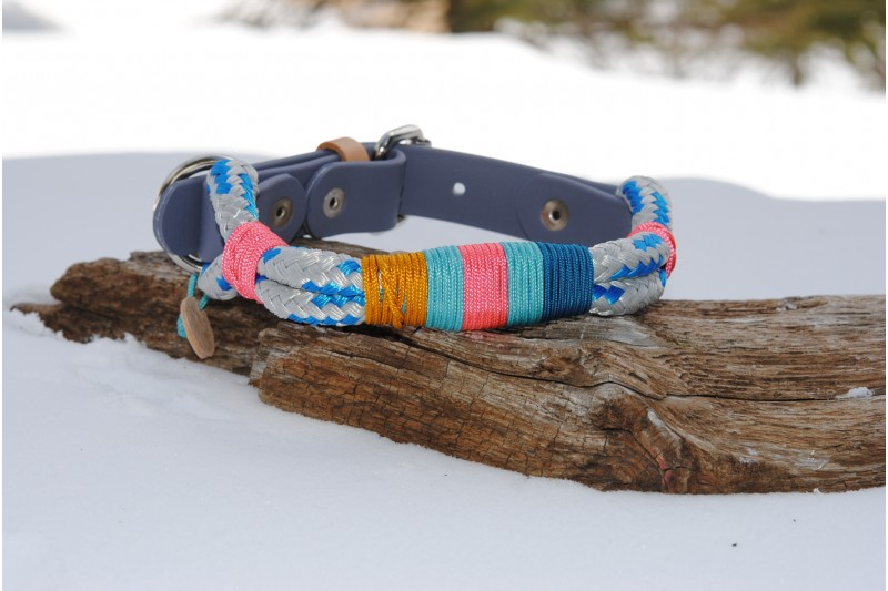 Adjustable collar Grey-Blue/Grey Biothane